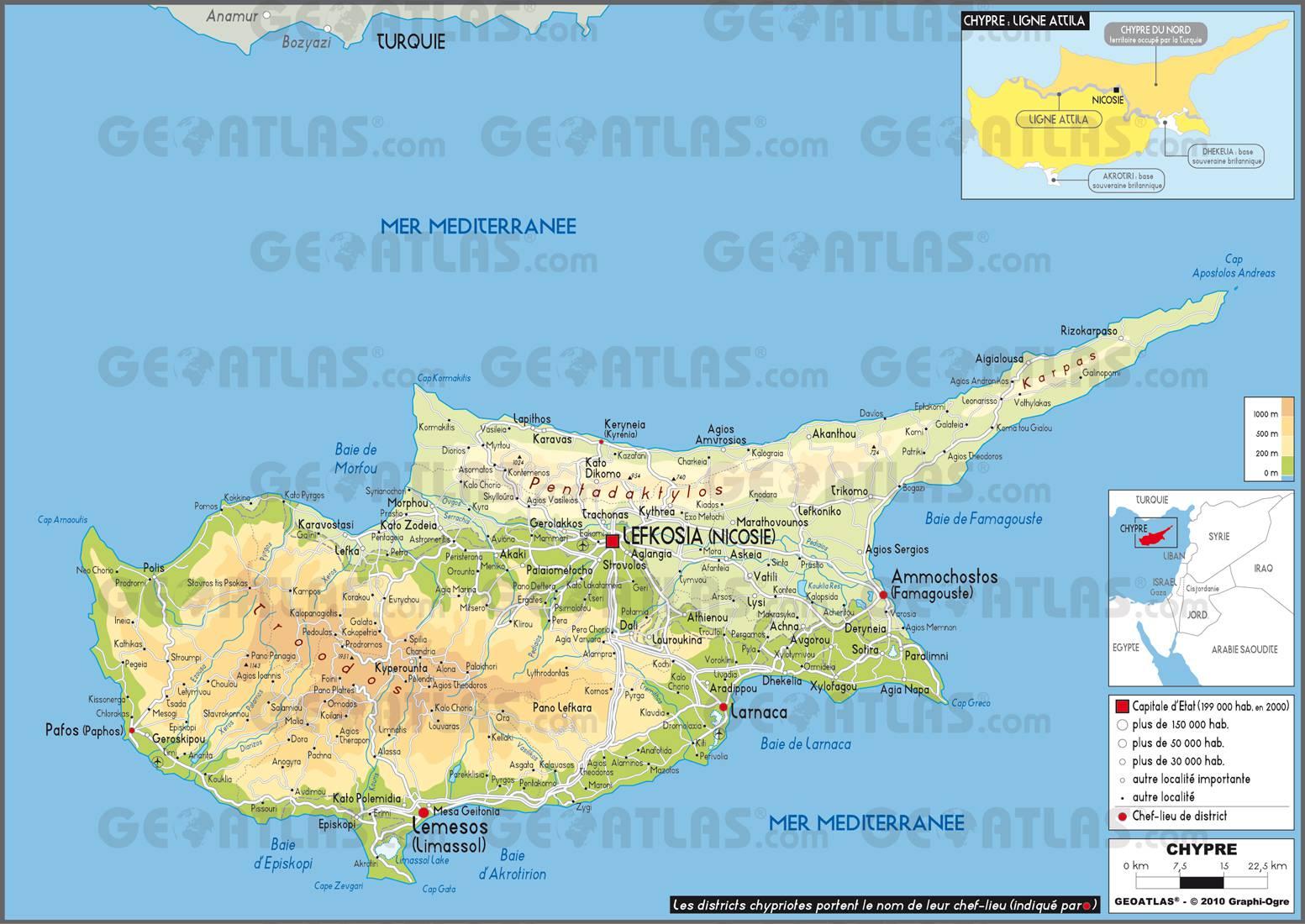 Carte de Chypre   Plusieurs cartes du pays (villes, relief