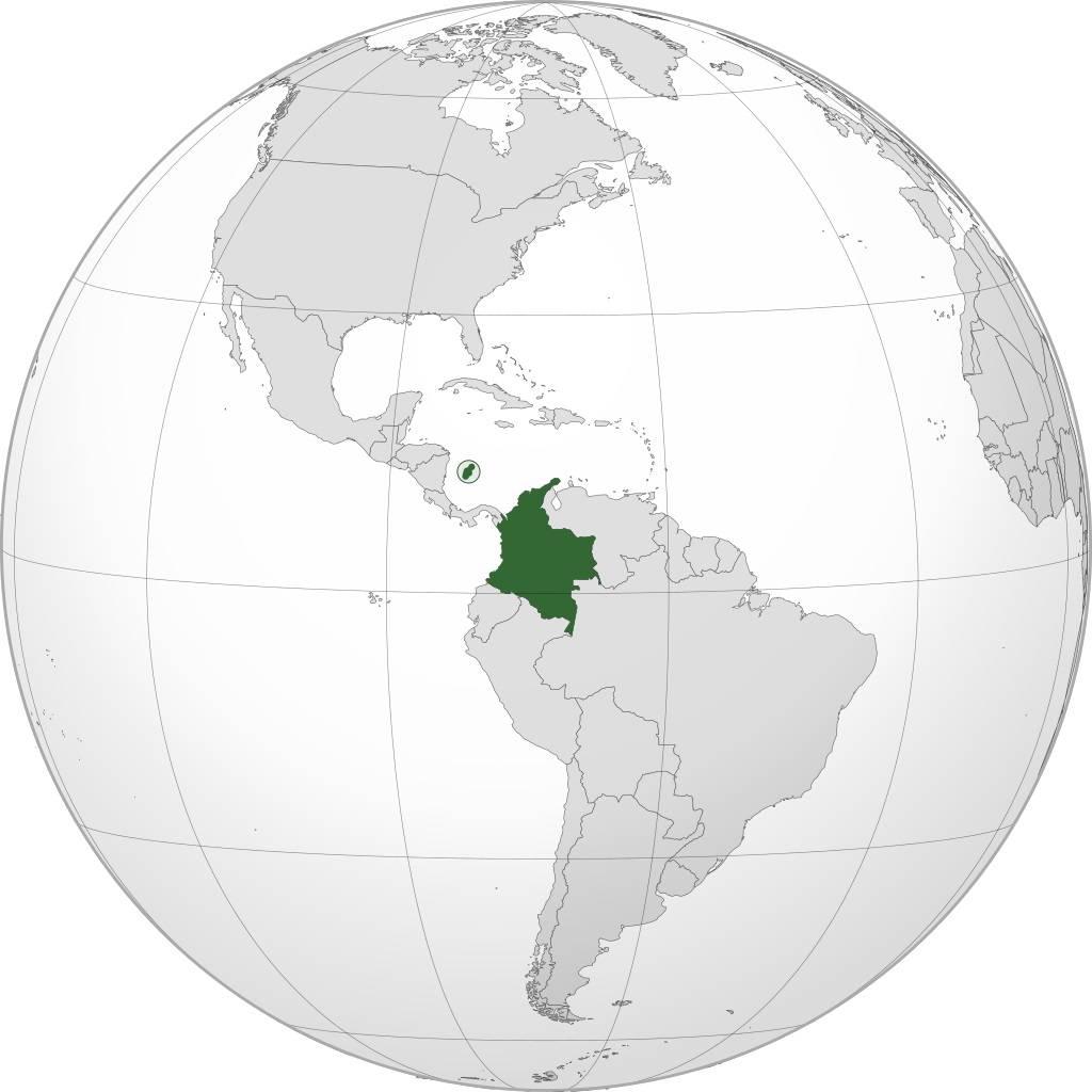 Colombie sur la carte d'Amérique-du-Sud