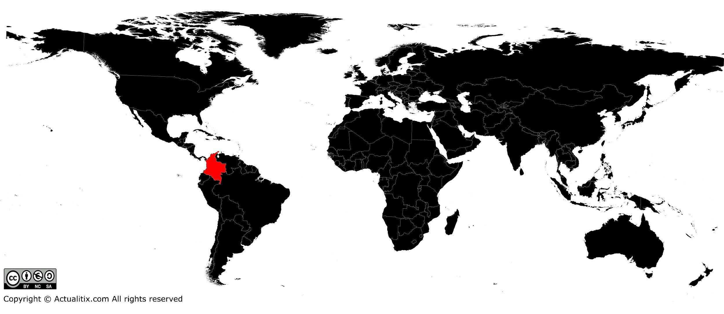Colombie sur une carte du monde