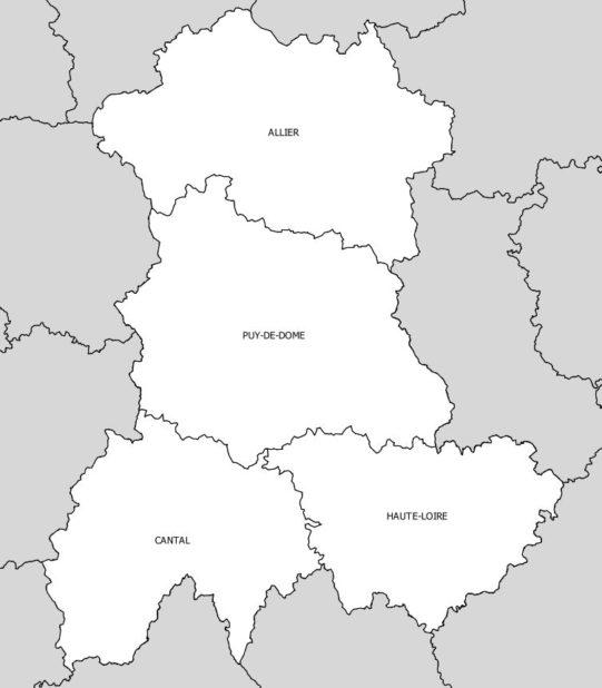 Départements de la région Auvergne