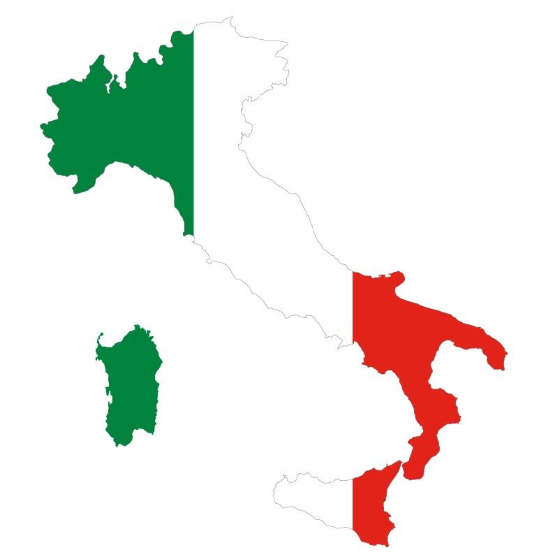 Drapeau de l'Italie en forme de pays