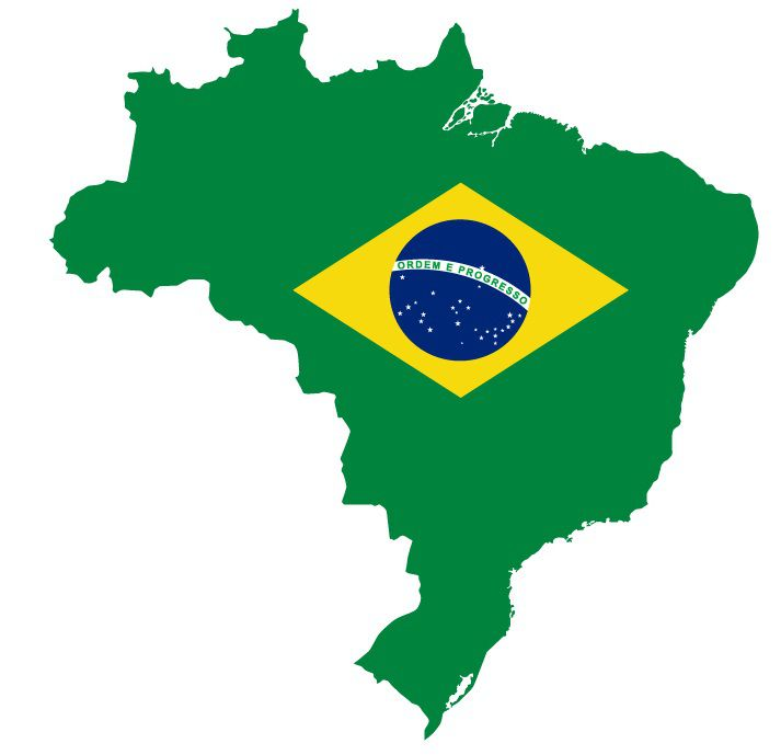 Drapeau du Brésil en forme de pays