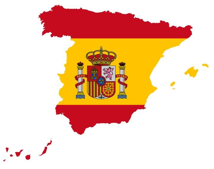 Drapeau dans carte du pays : Espagne