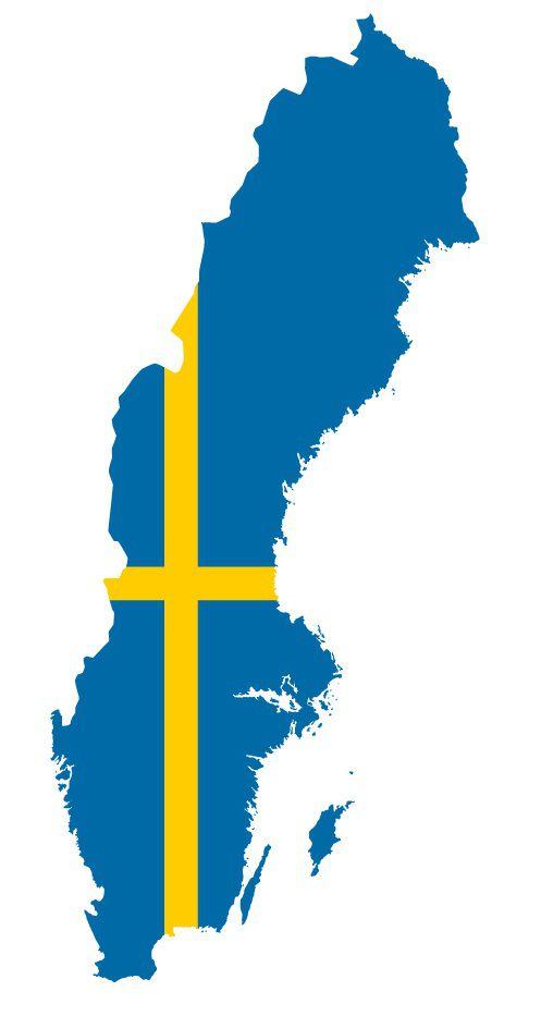 Drapeau de la Suède en forme de pays