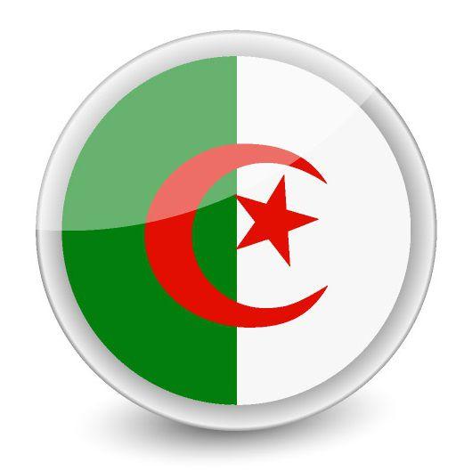 Drapeau rond de l'Algérie