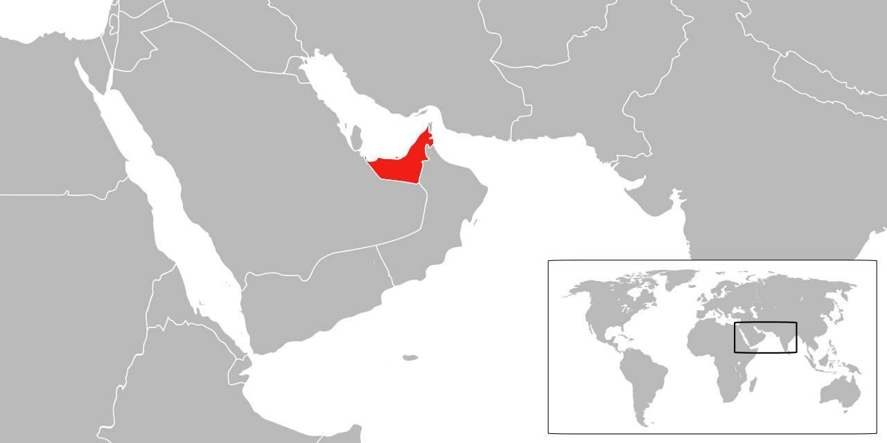 Emirats arabes unis sur la carte du Moyen-Orient