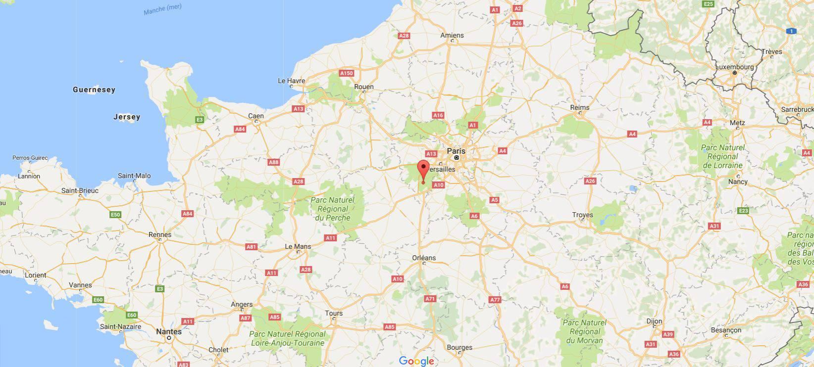 Forêt de Rambouillet sur une carte de France