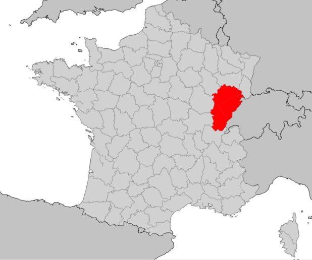 Franche-Comté sur une carte de France