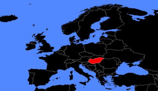 Hongrie sur une carte de l'Europe