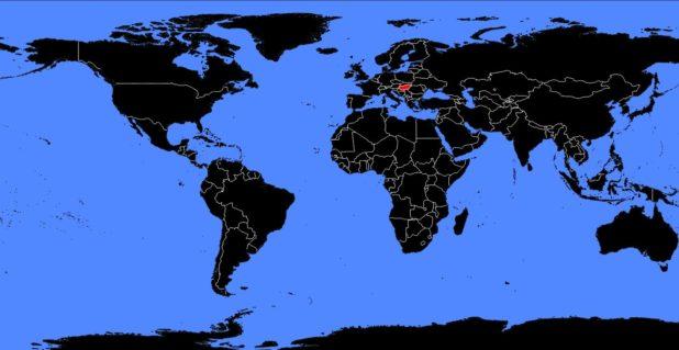 Hongrie sur une carte du monde