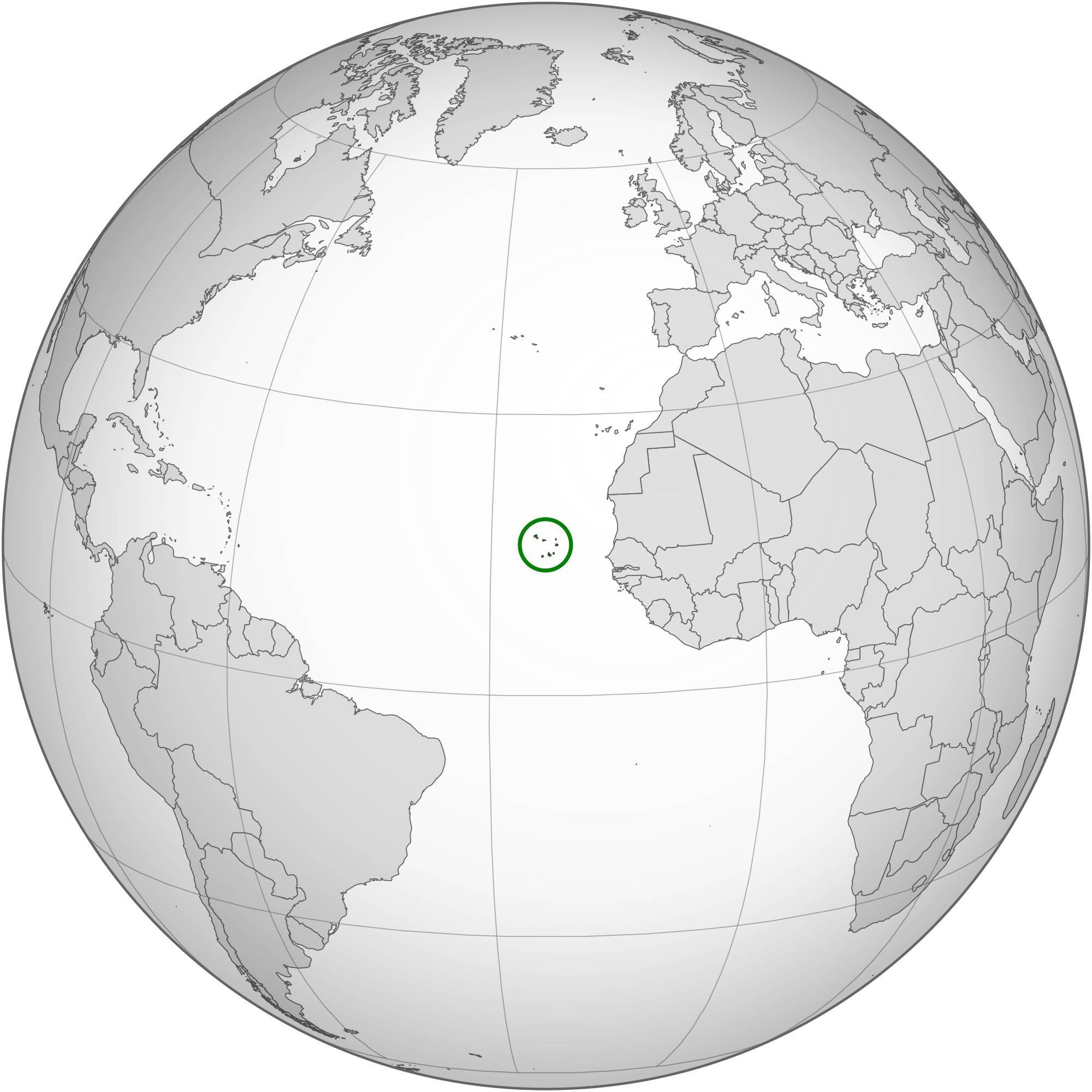 Ile du Cap-Vert sur carte de l'Afrique