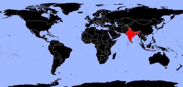 Inde sur une carte du monde