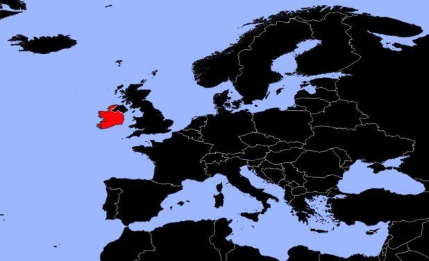 Irlande sur une carte d'Europe