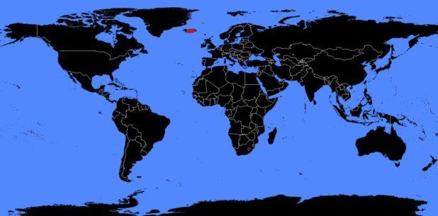 Islande sur une carte du monde
