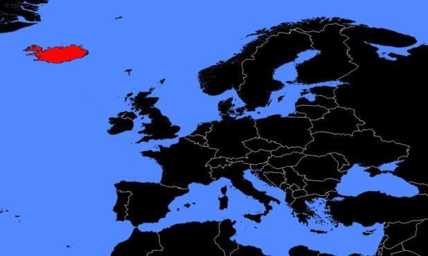 Islande sur une carte de l'Europe