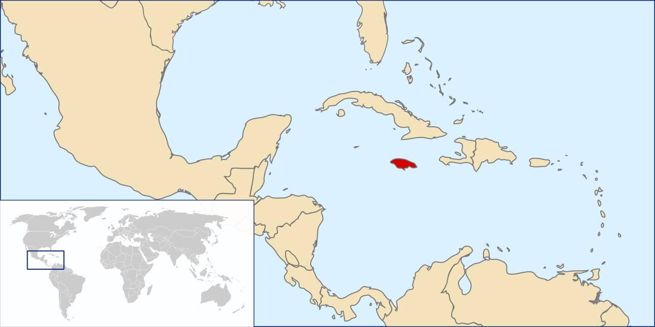 Jamaïque sur la carte de l'Amérique