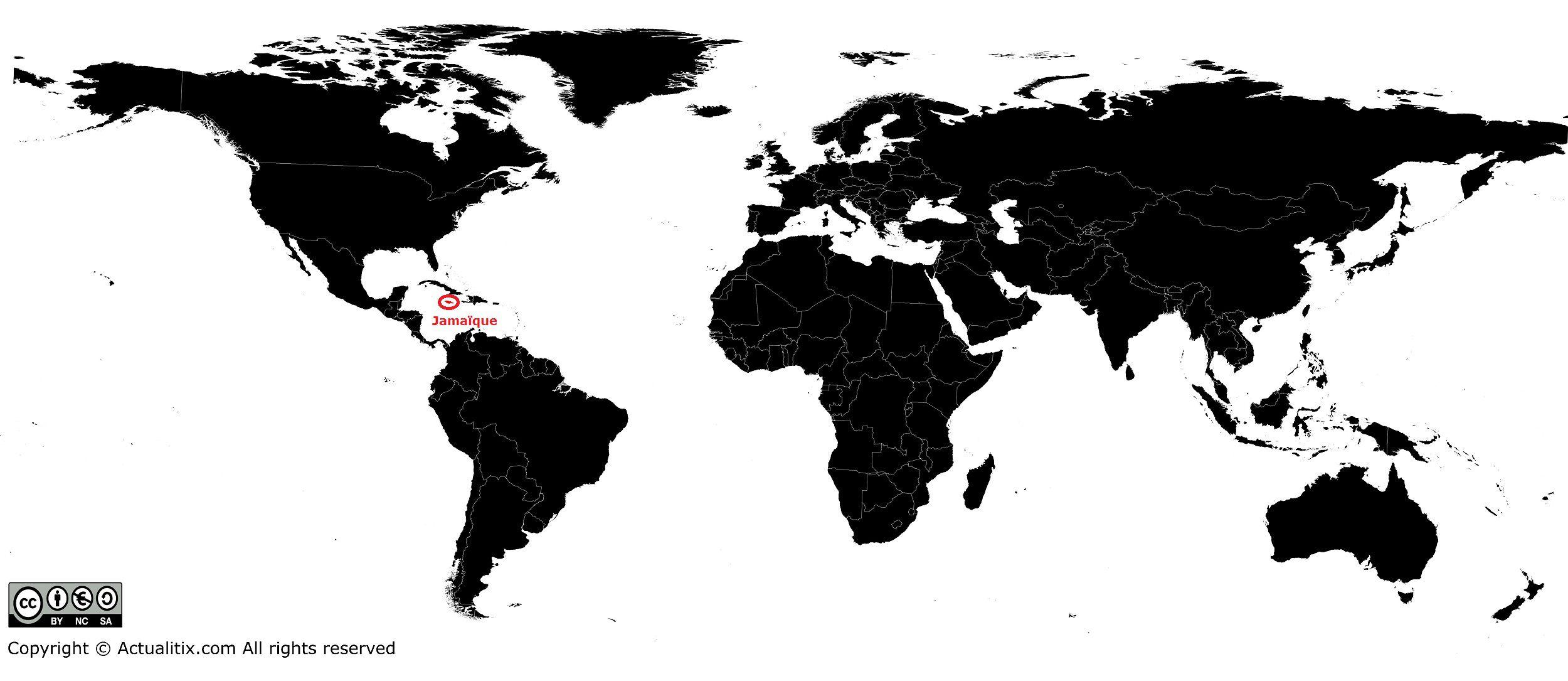Jamaïque sur une carte du monde