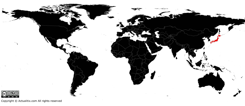 Carte du Japon   Plusieurs cartes du pays en Asie (villes, relief