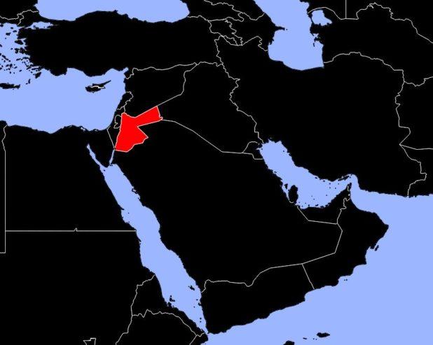 Jordanie sur une carte du Moyen-Orient