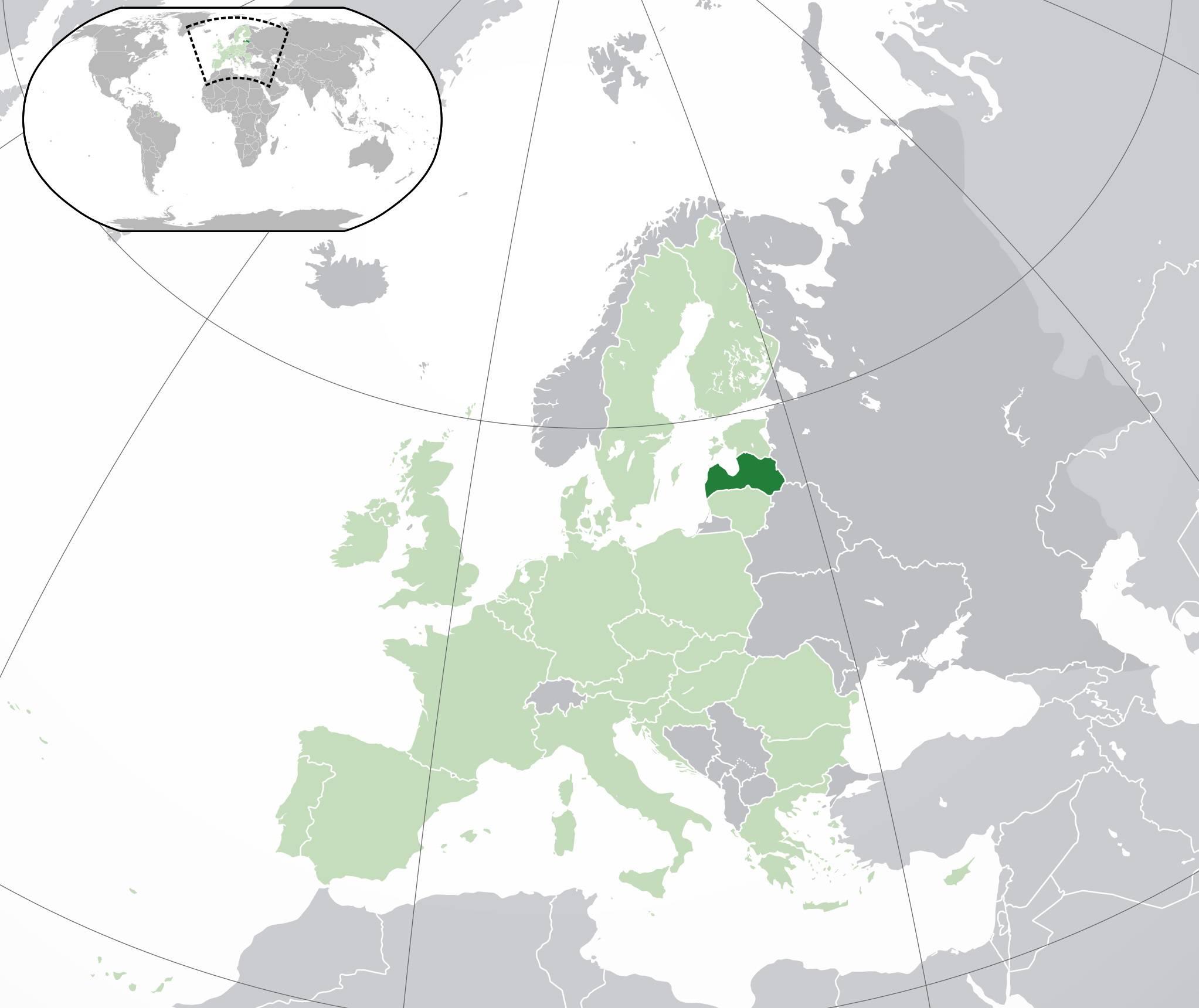 Lettonie sur une carte de l'Europe
