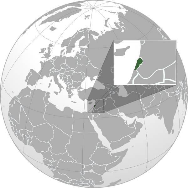 Liban sur une carte du Moyen-Orient