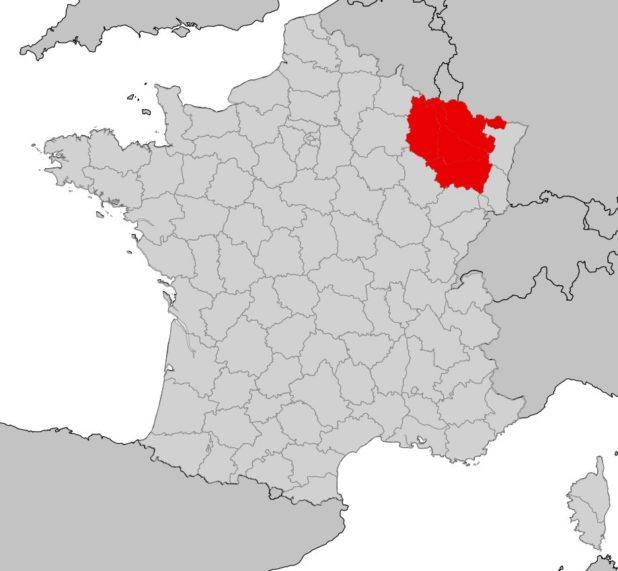 Région Lorraine sur une carte de France