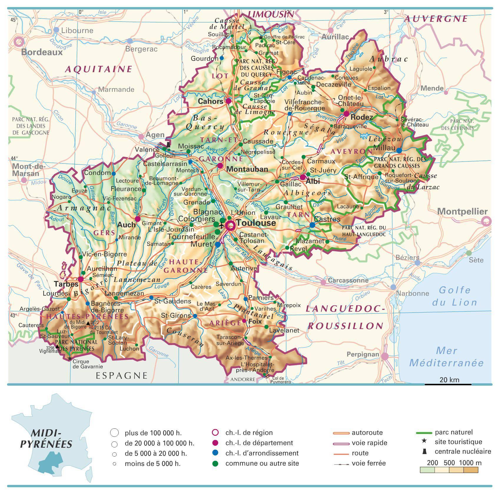 Carte de midi pyr n es plusieurs cartes de la r gion du sud de la france - Cours de cuisine haute garonne ...