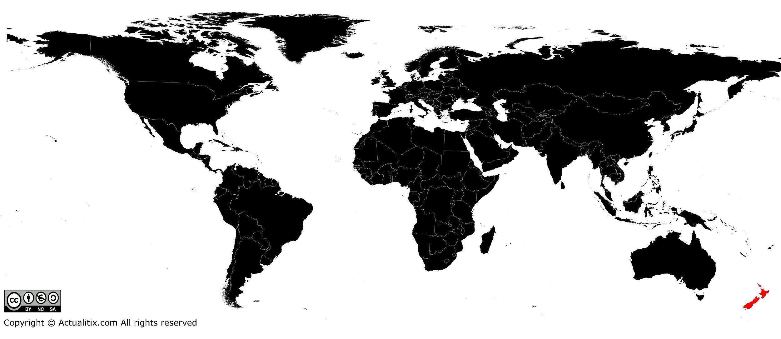 Nouvelle-Zélande sur une carte du monde