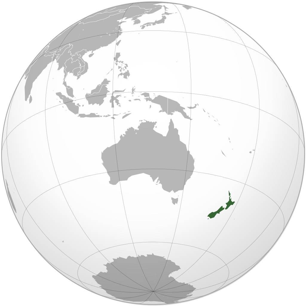 Nouvelle-Zélande sur carte de l'Océanie