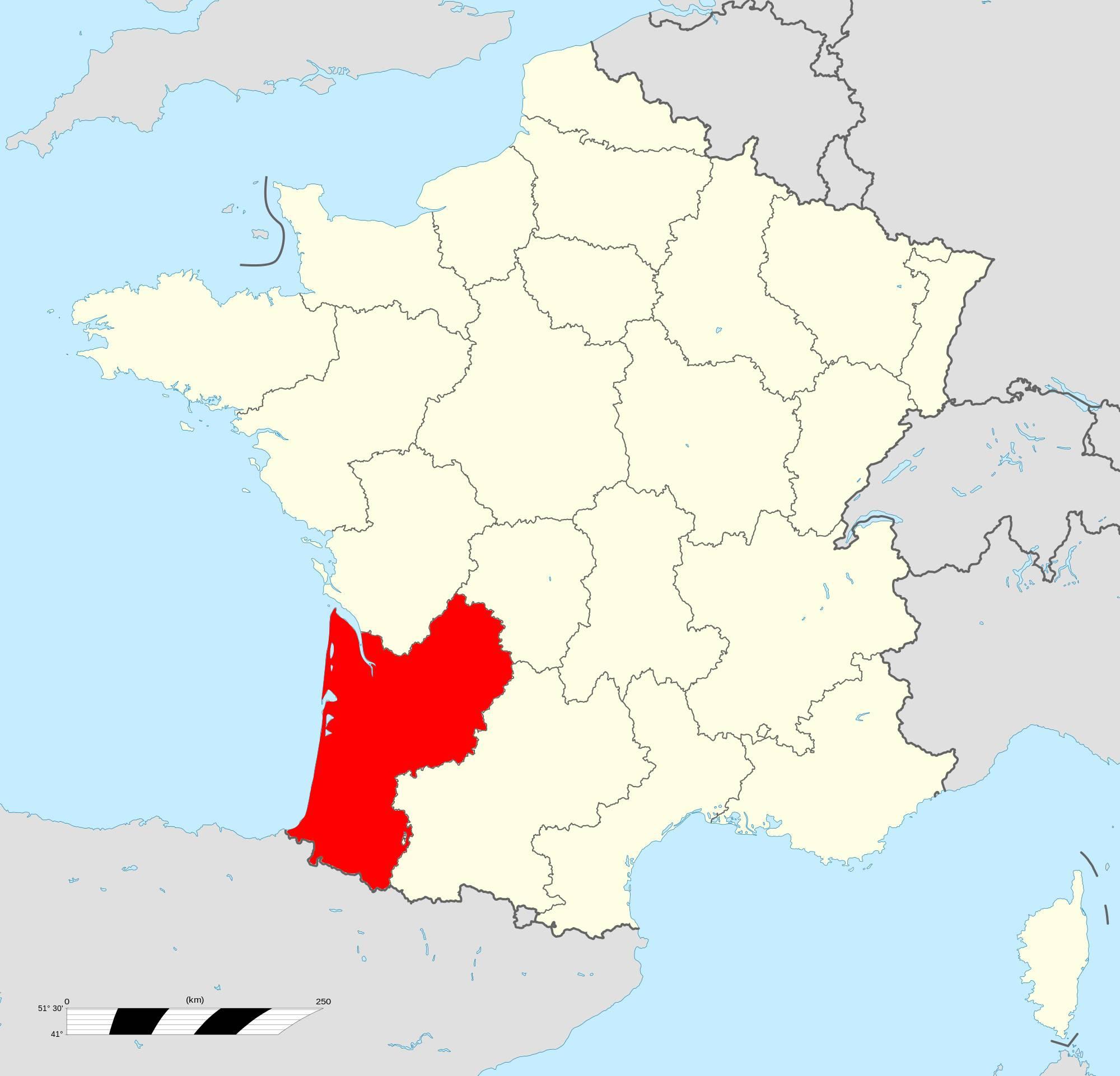 Où se trouve la région Aquitaine en France ?