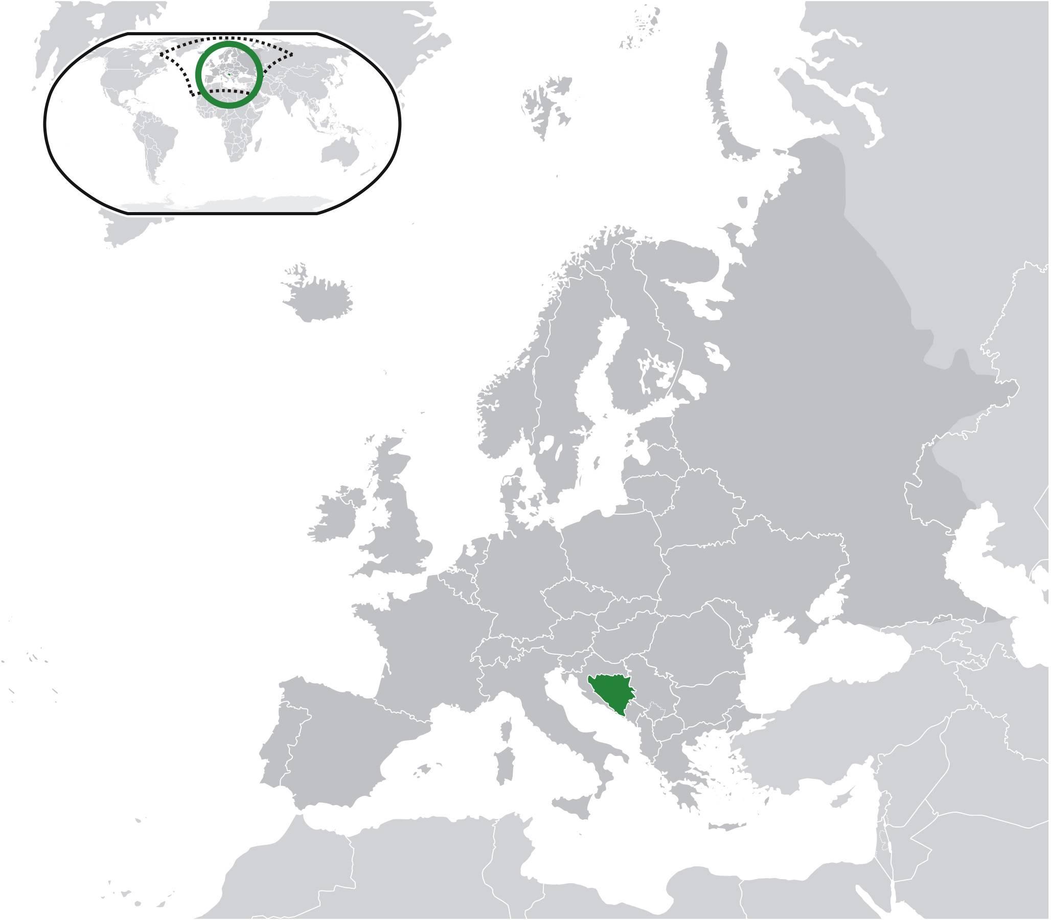 Où se trouve la Bosnie-Herzégovine sur une carte de l'Europe ?