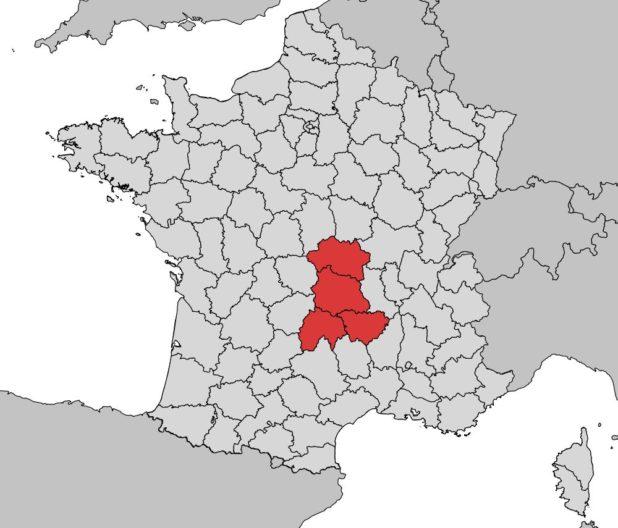 Où se trouve la région Auvergne sur une carte de France