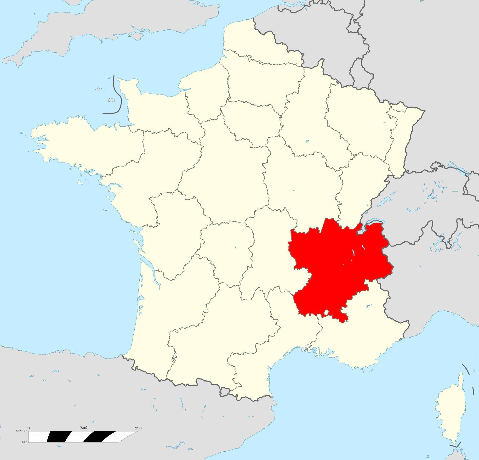 Où se trouve la région Rhône-Alpes ?