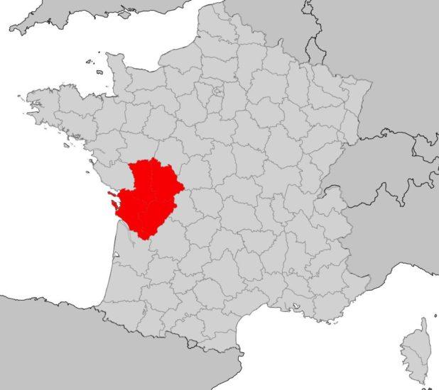 Poitou-Charente sur une carte de France