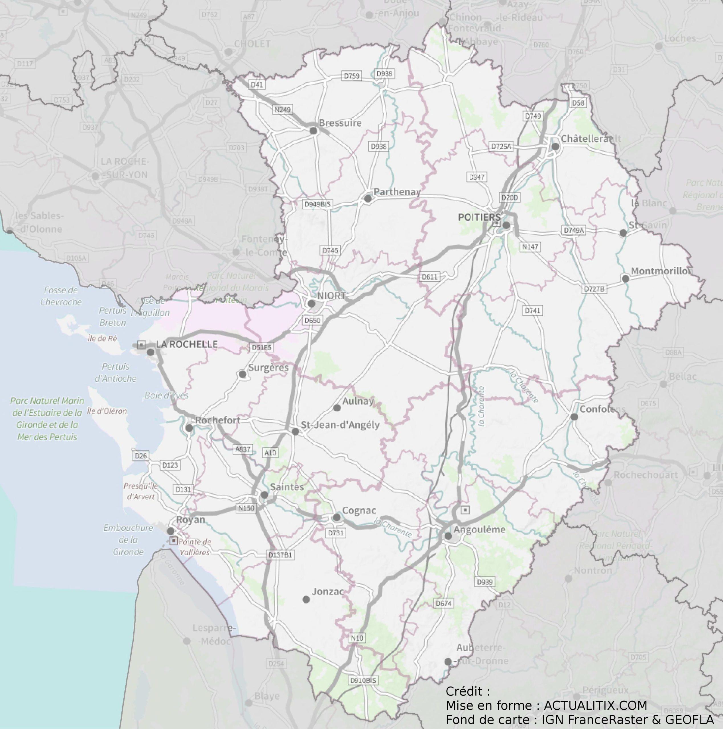 Carte du Poitou-Charentes - Plusieurs cartes de la région ...