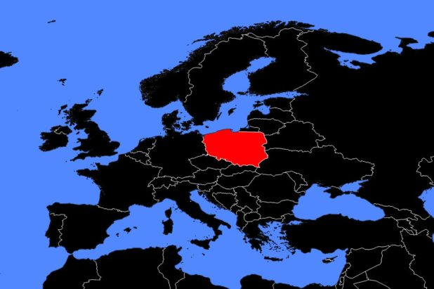 Pologne sur une carte de l'Europe