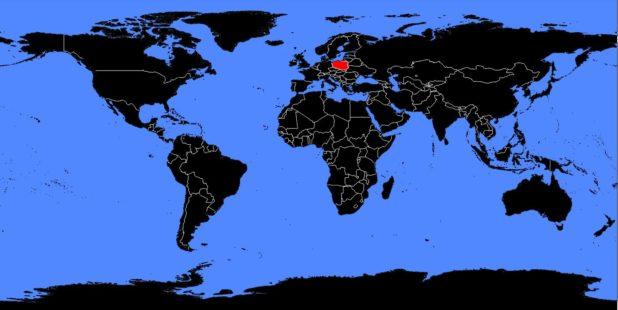 Pologne sur une carte du monde