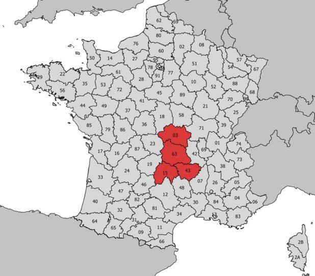 Région Auvergne avec départements et numéro