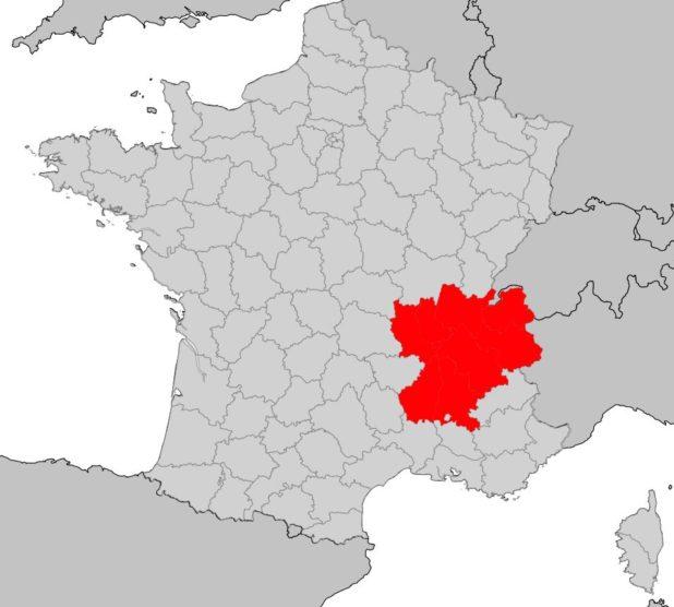 Rhône-Alpes sur une carte de France