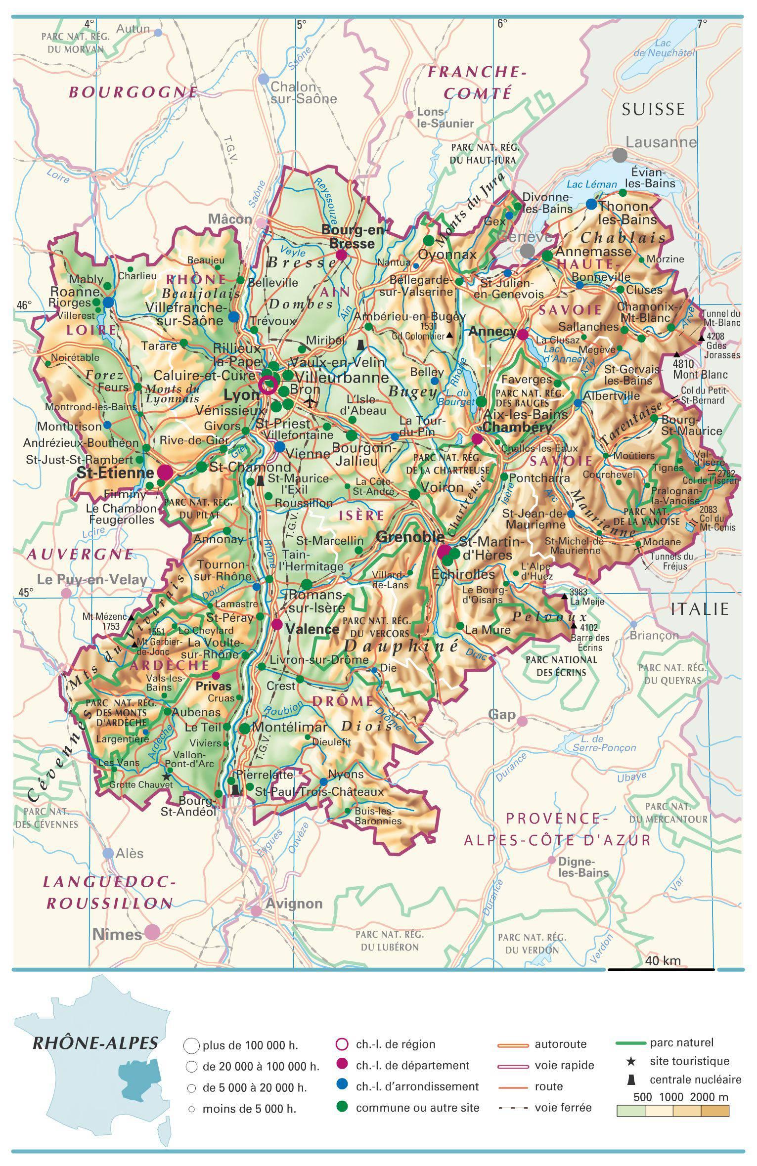 Rhône-Alpes carte
