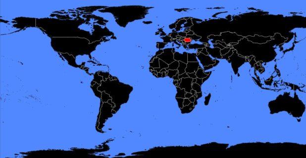 Roumanie sur une carte du monde
