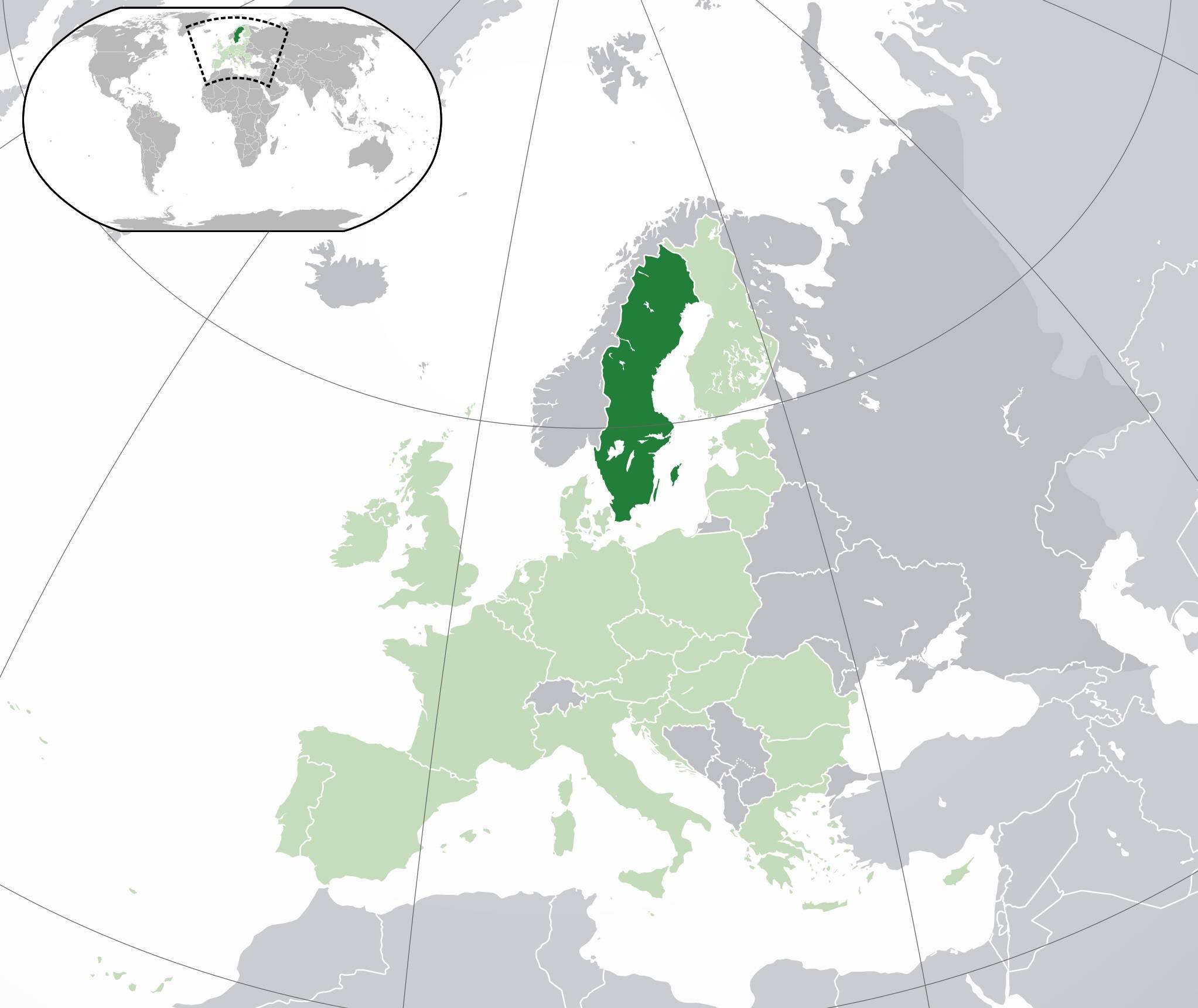 Suède sur une carte de l'Europe
