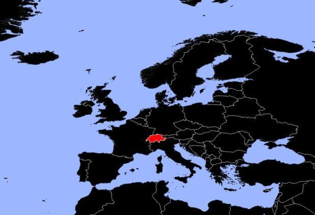 Suisse sur une carte d'Europe