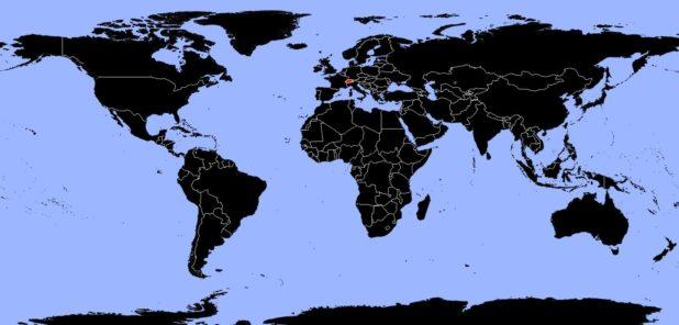 Suisse sur une carte du monde