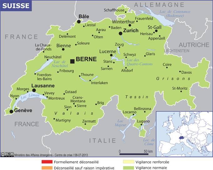 carte alsace et nord de la suisse