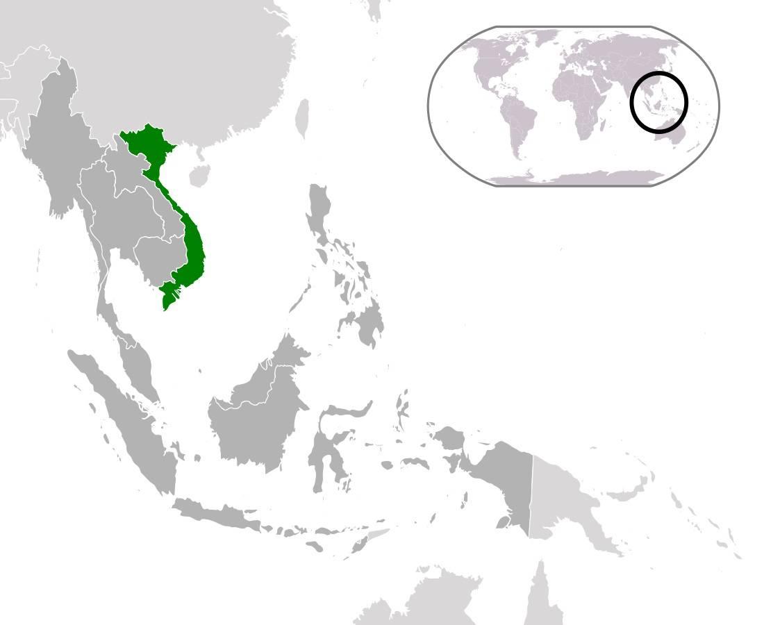 Vietnam sur une carte de l'Asie