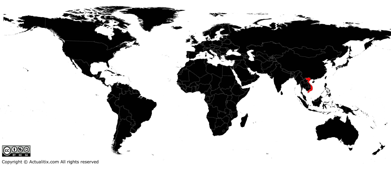 Vietnam sur une carte du monde