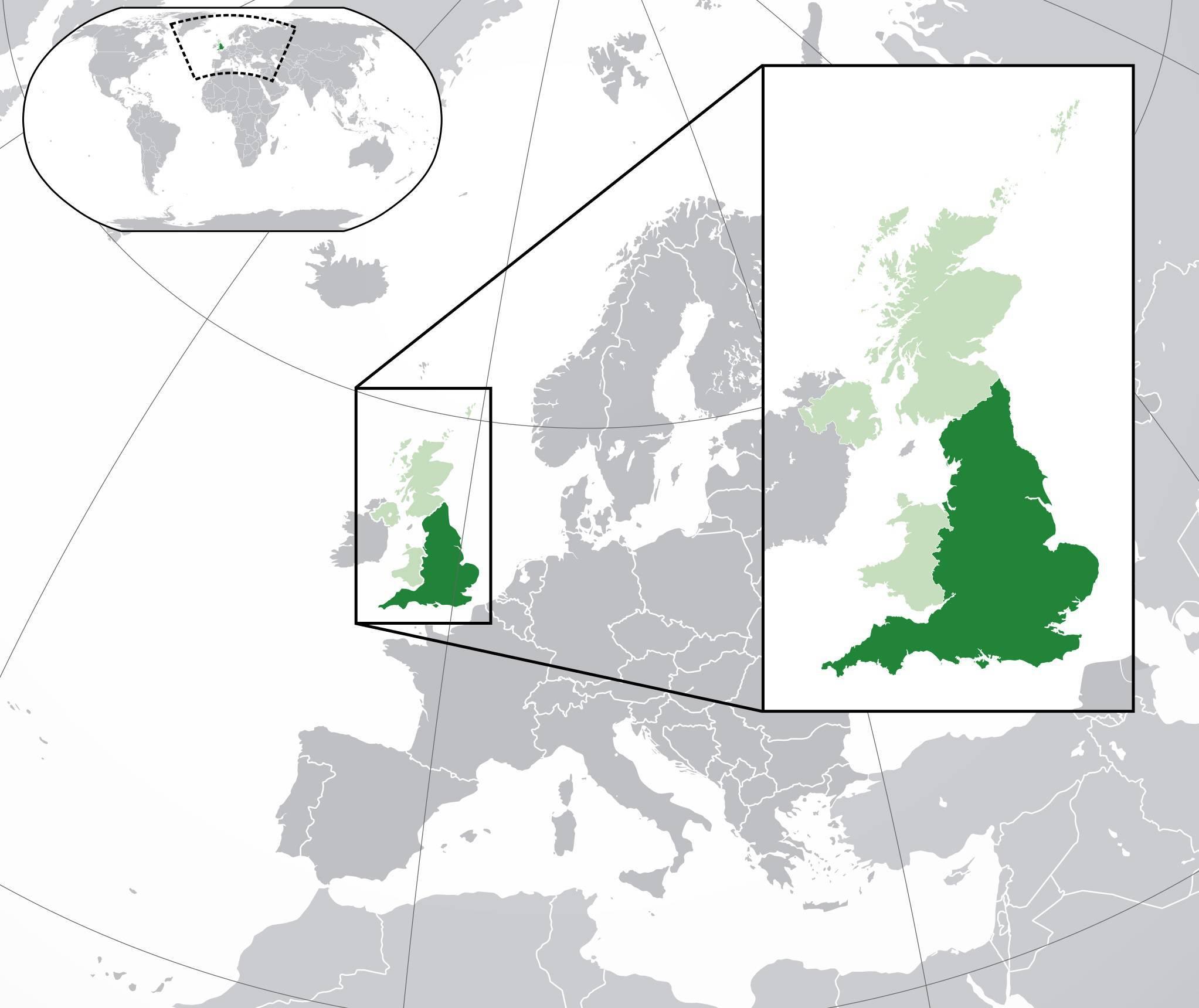 Angleterre sur une carte de l'Europe