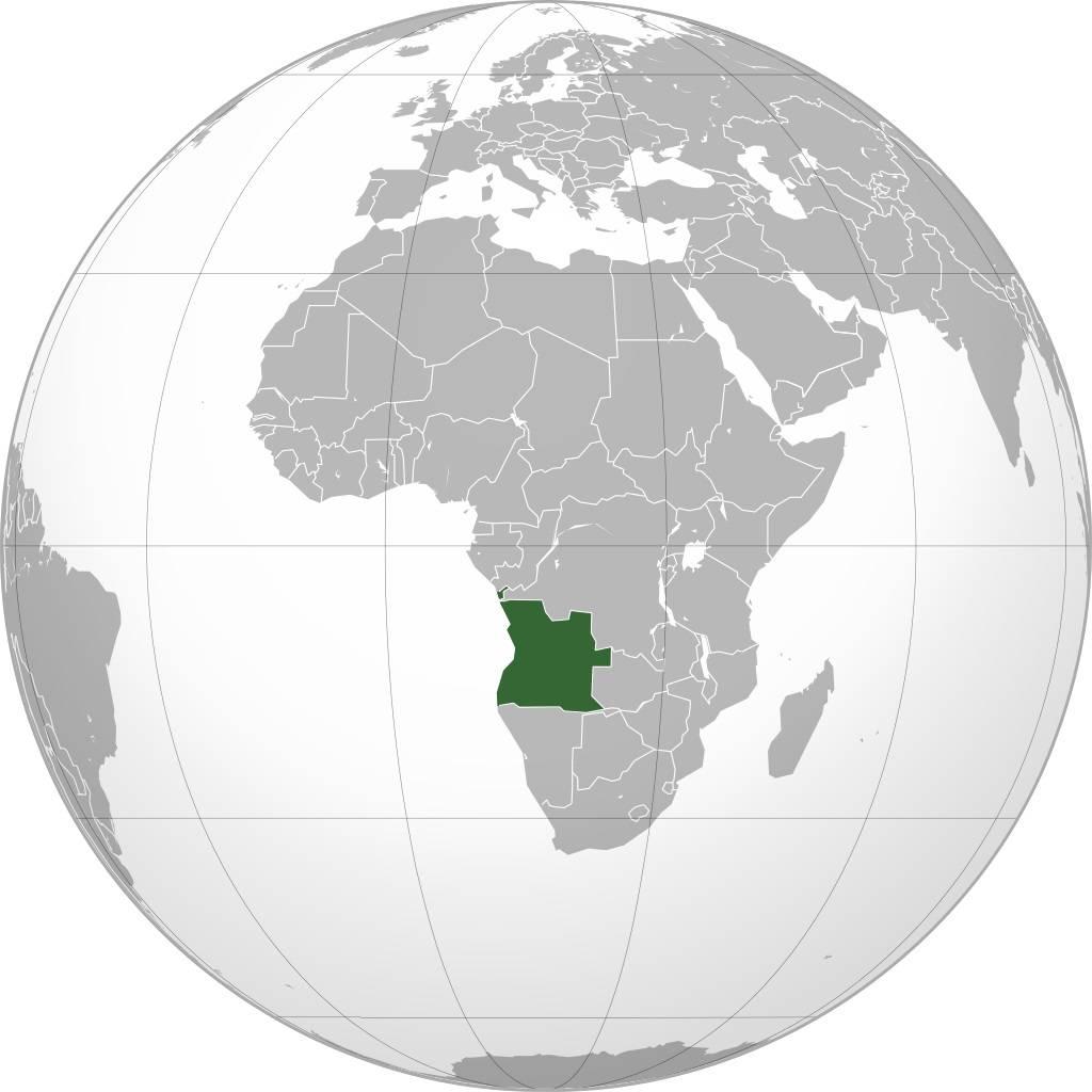 Angola sur une carte de l'Afrique