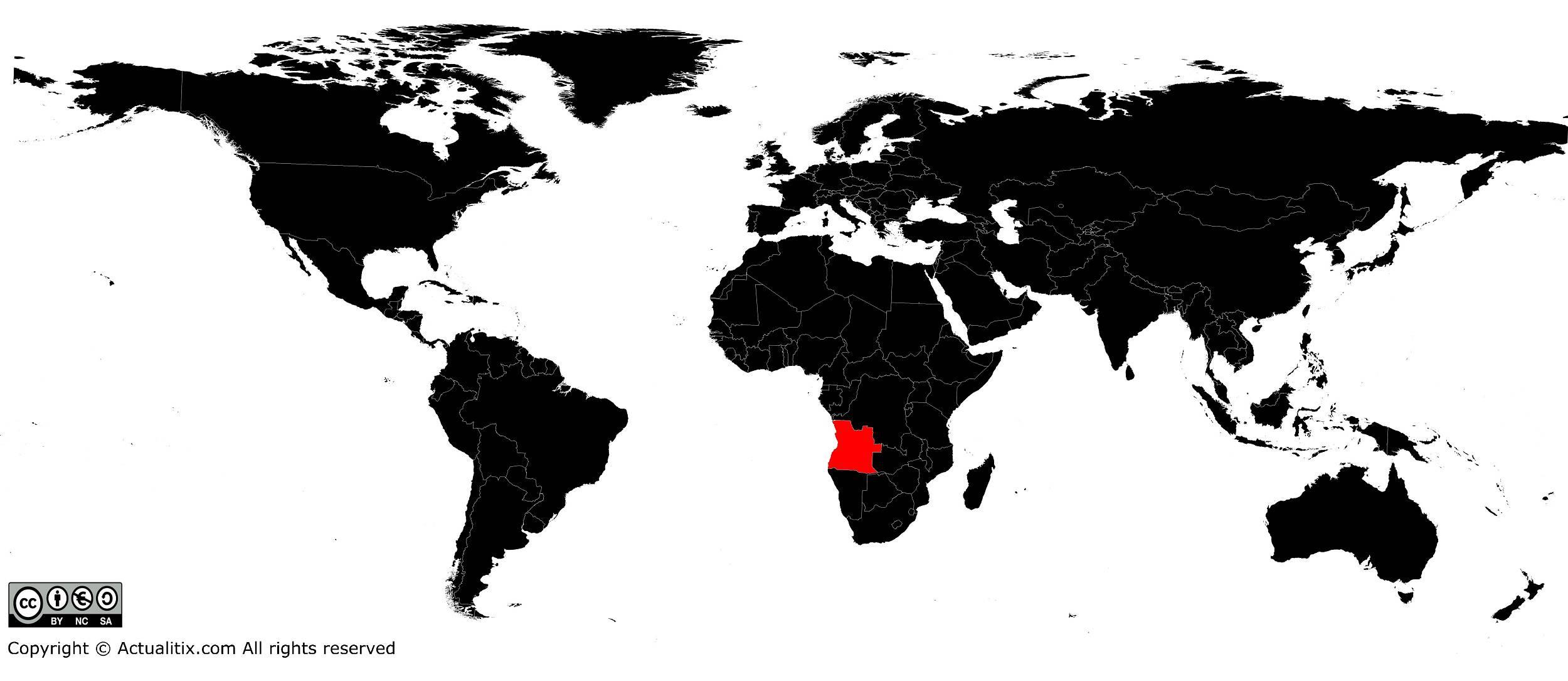 Angola sur une carte du monde